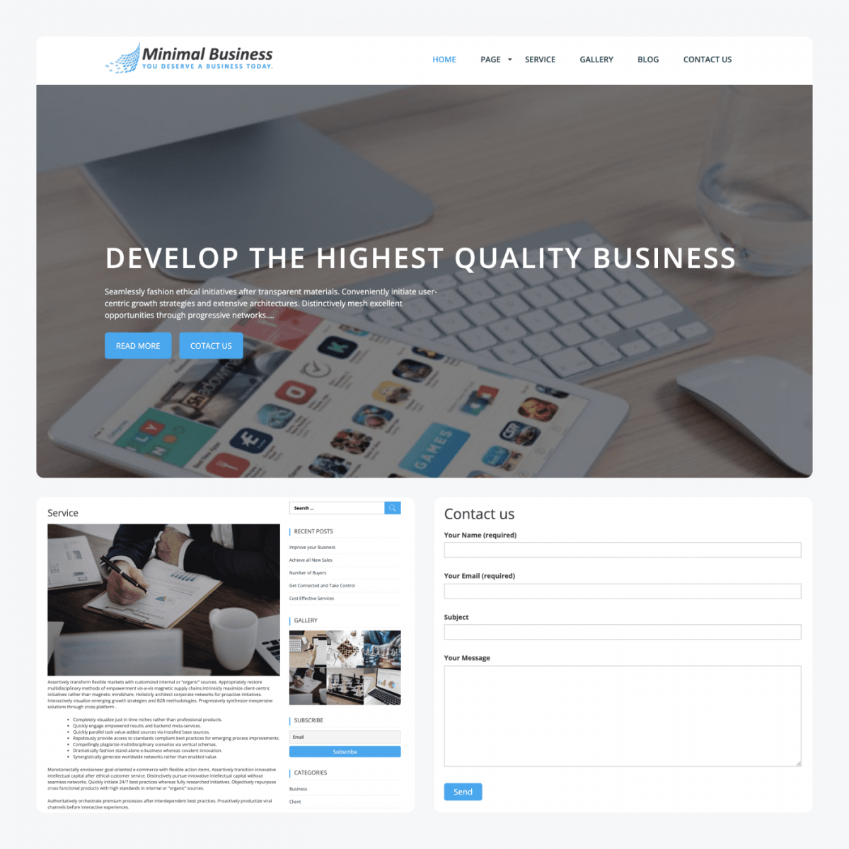 Minimal Business theme demo