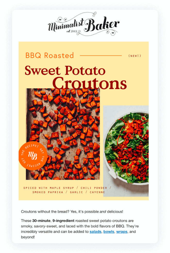 Email design example from Minimalist Baker