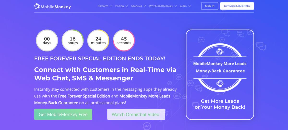 AI chatbot service - Mobile Monkey