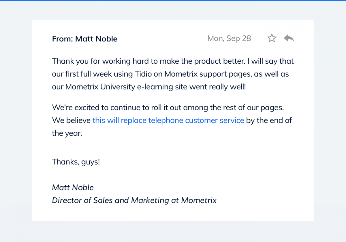 Email message from Director of Sales and Marketing at Mometrix