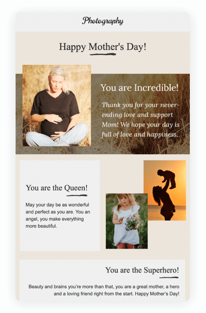 Email newsletter example - Happy Mother's Day