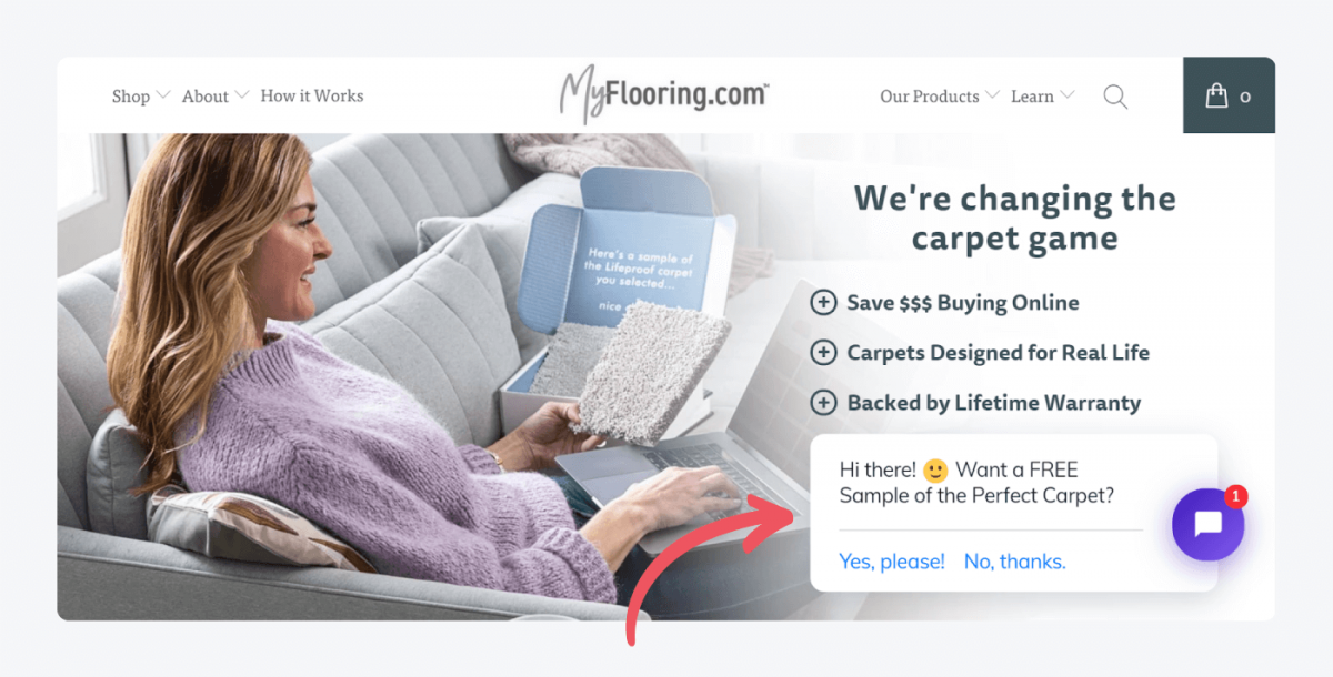 A welcome message example from MyFlooring