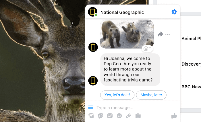 National Geographic chatbot - a messenger chatbot example used for education