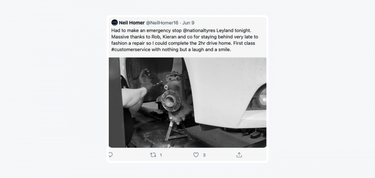 Twitter message from a happy customer of National Tyres