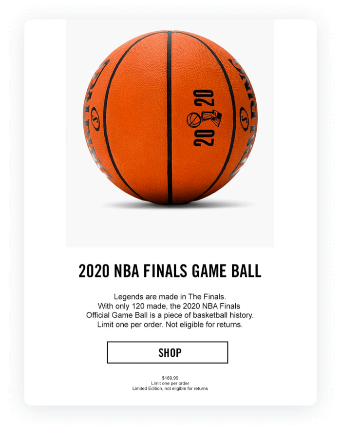 Email design example from Spalding