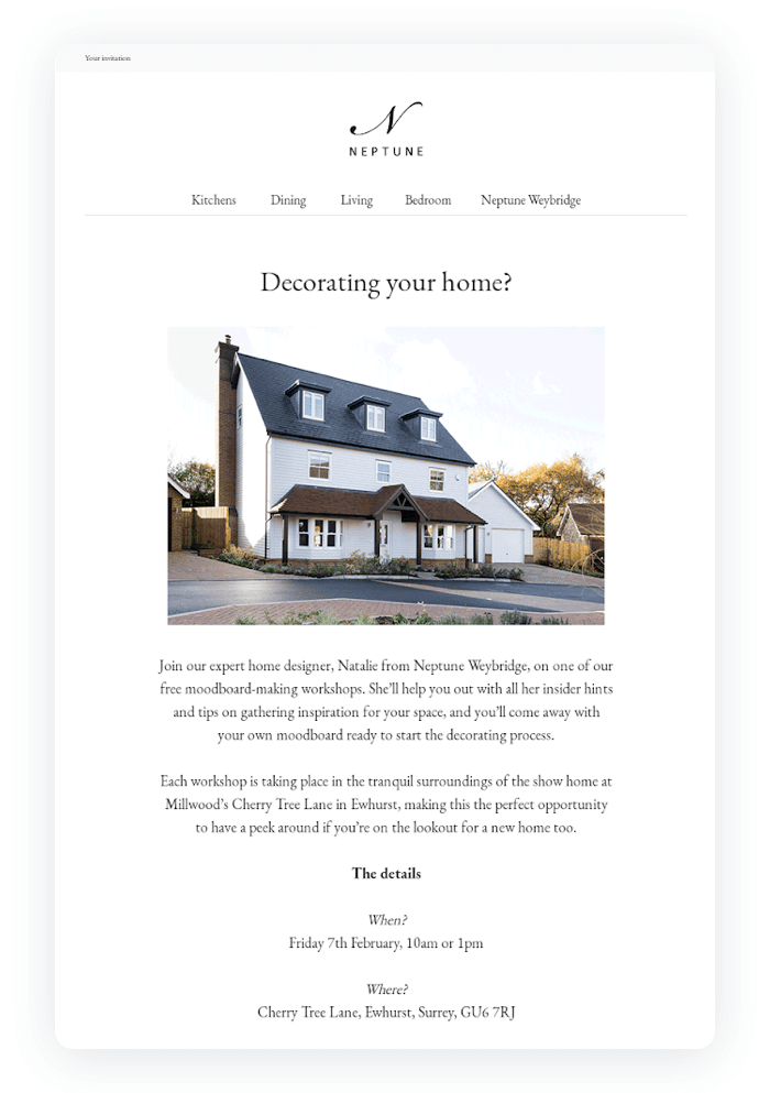 Email design example from Neptune
