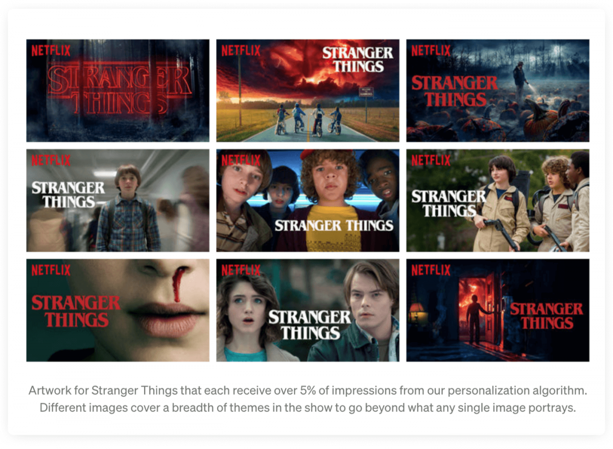 Artwork from Stranger Things used in Netflix's personalisation algorithm