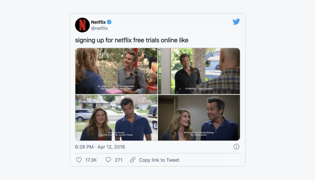 Netflix frequently uses meme-based marketing on their social media channels