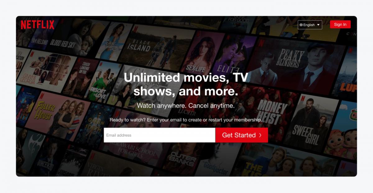 Netflix's starting page