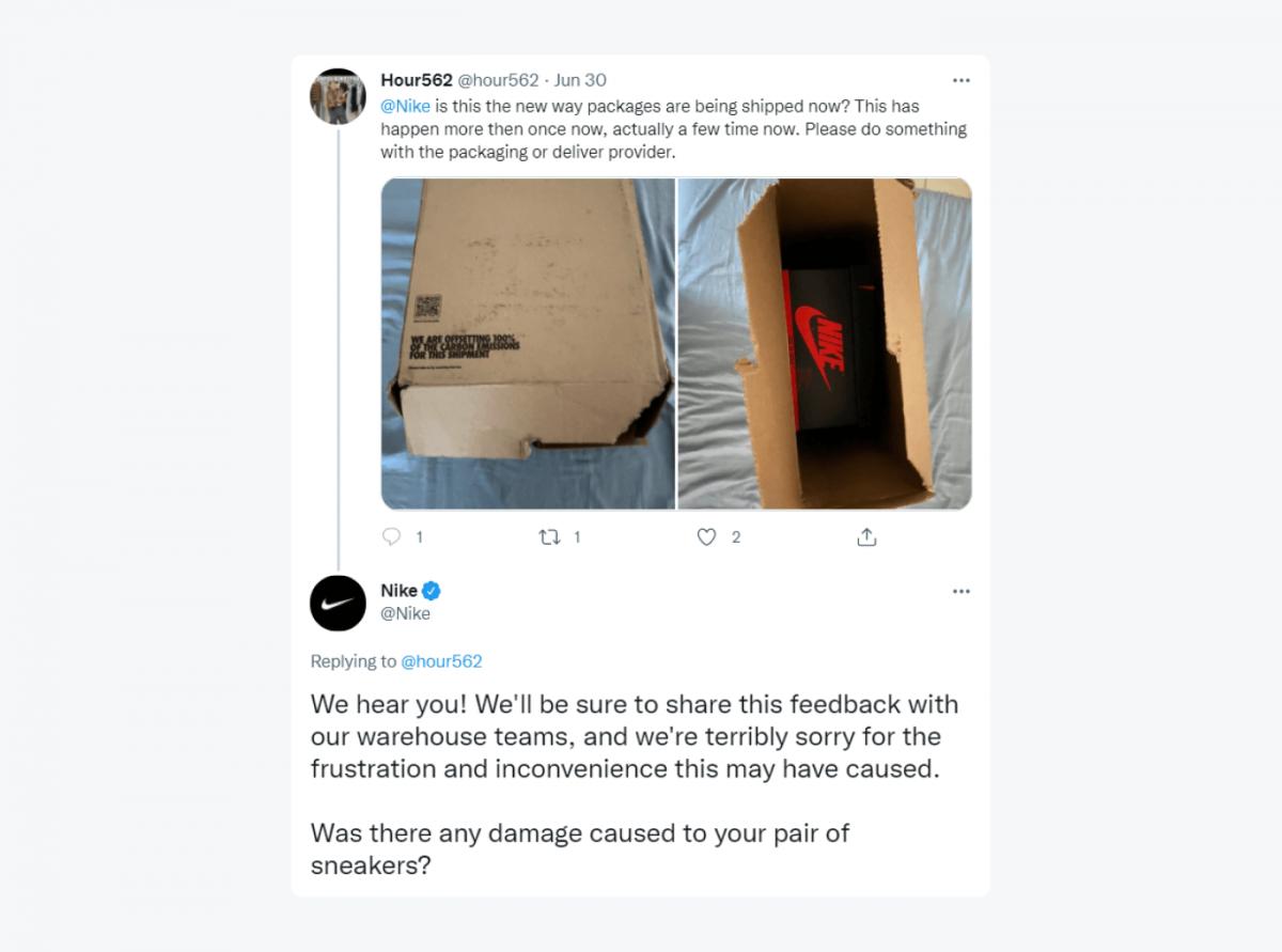 Nike's response to an angry customer's tweet