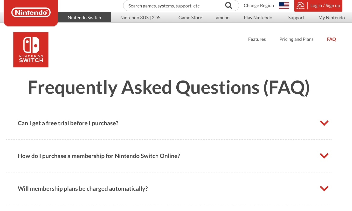Example of Using FAQ Customer Service by Nintendo Switch
