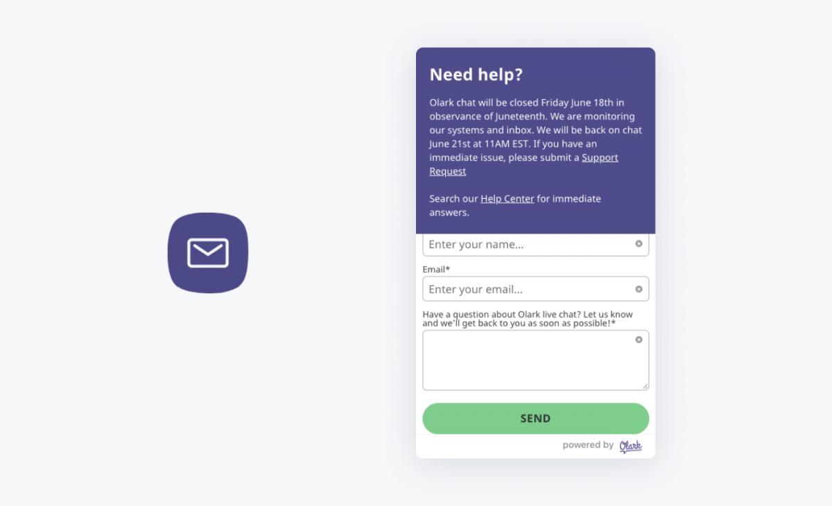 Olark chat widget and icon
