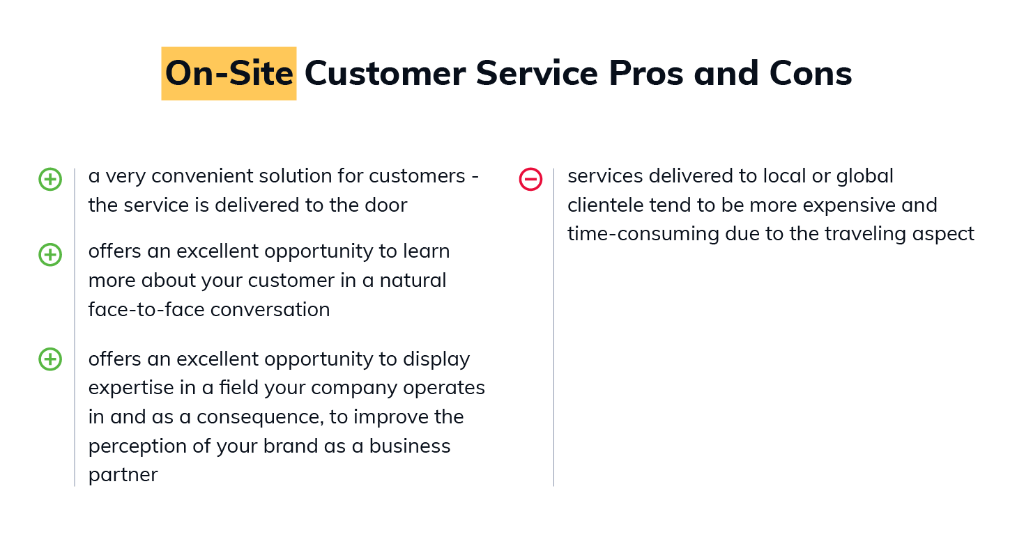 Pros and Cons of on-site Customer Service