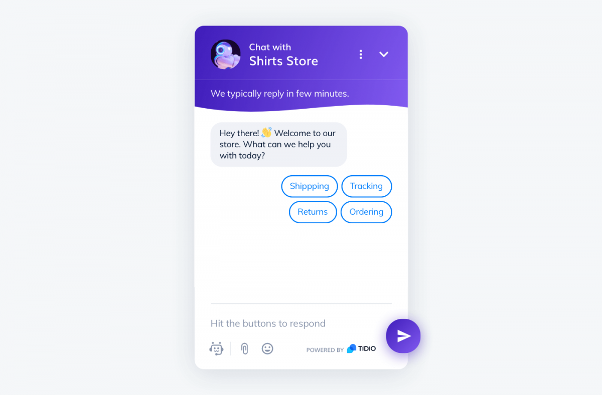FAQ chatbot with buttons