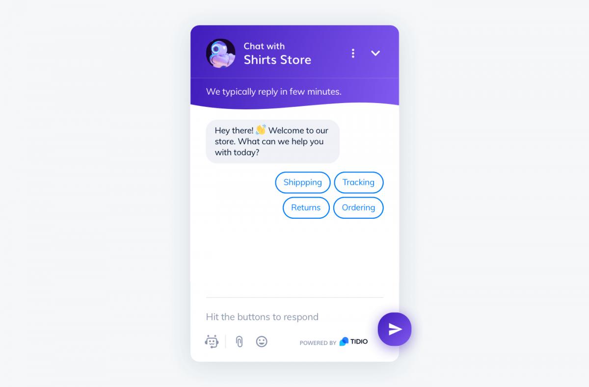 Tidio chatbot example