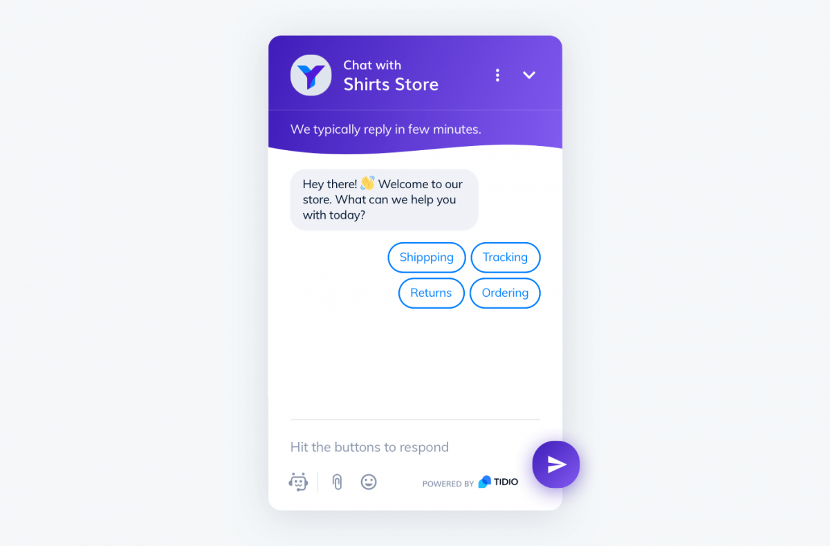 FAQ Chatbot example from Tidio