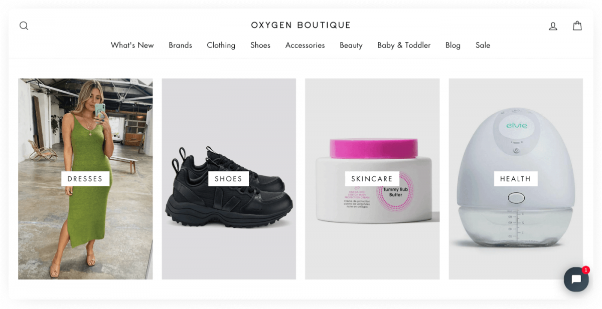 An online clothing store example (Oxygen Boutique)