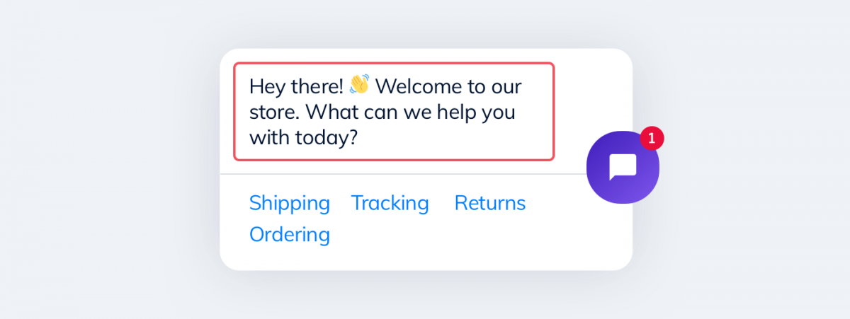 A chatbot welcome message for eCommerce websites