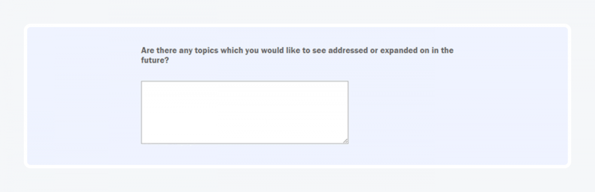Open-ended survey question example