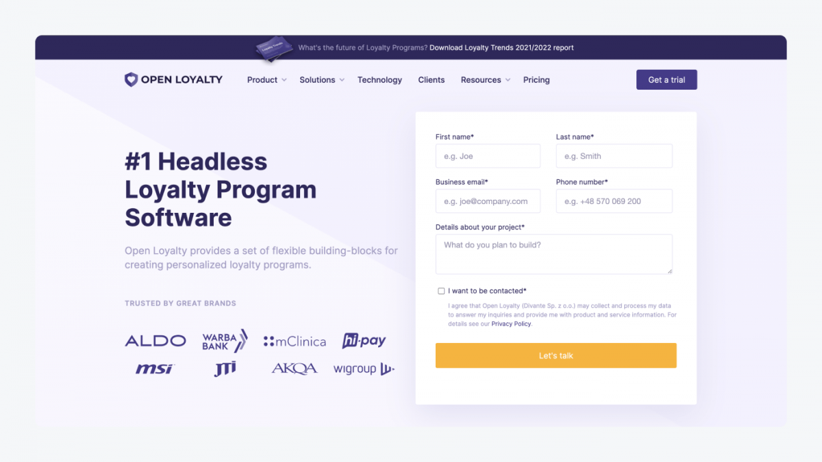 Open Loyalty's homepage