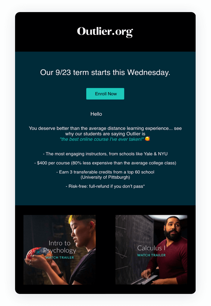 Email design example from Outlier