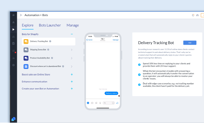 Sample selection of Tidio's chatbots templates