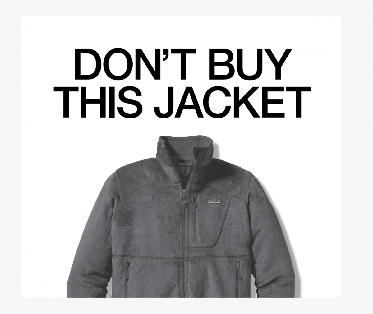 """""""Don't buy this jacket"""" banner by Patagonia"""