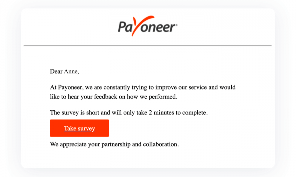 A customer support email example that collects feedback from users