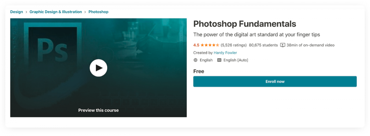 Preview of a Photoshop Fundamentals course on Udemy platform