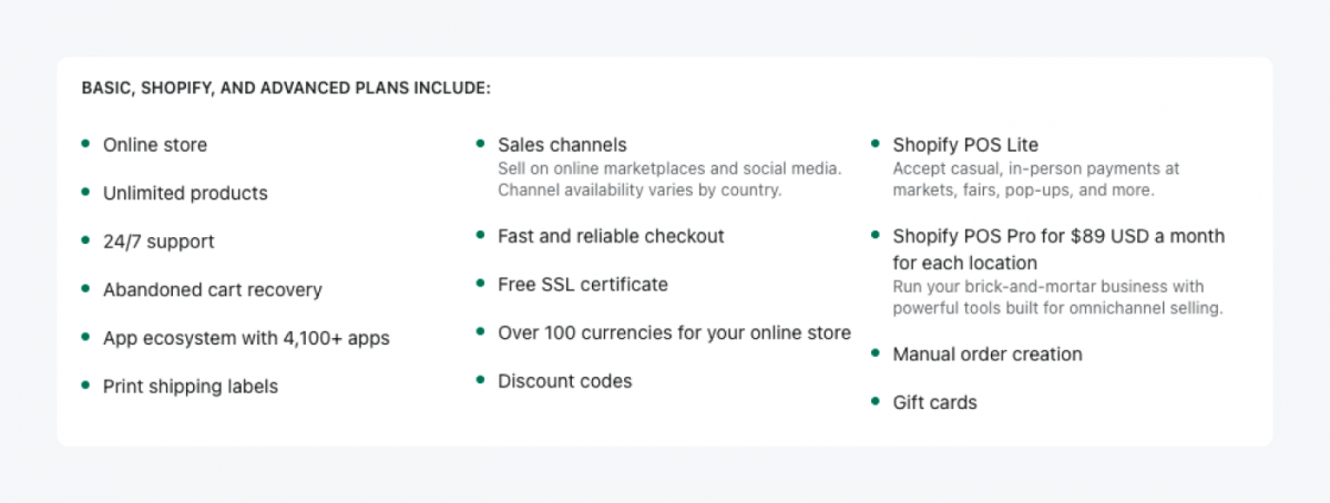 Features included in the main plans: Basic, Shopify, and Advanced