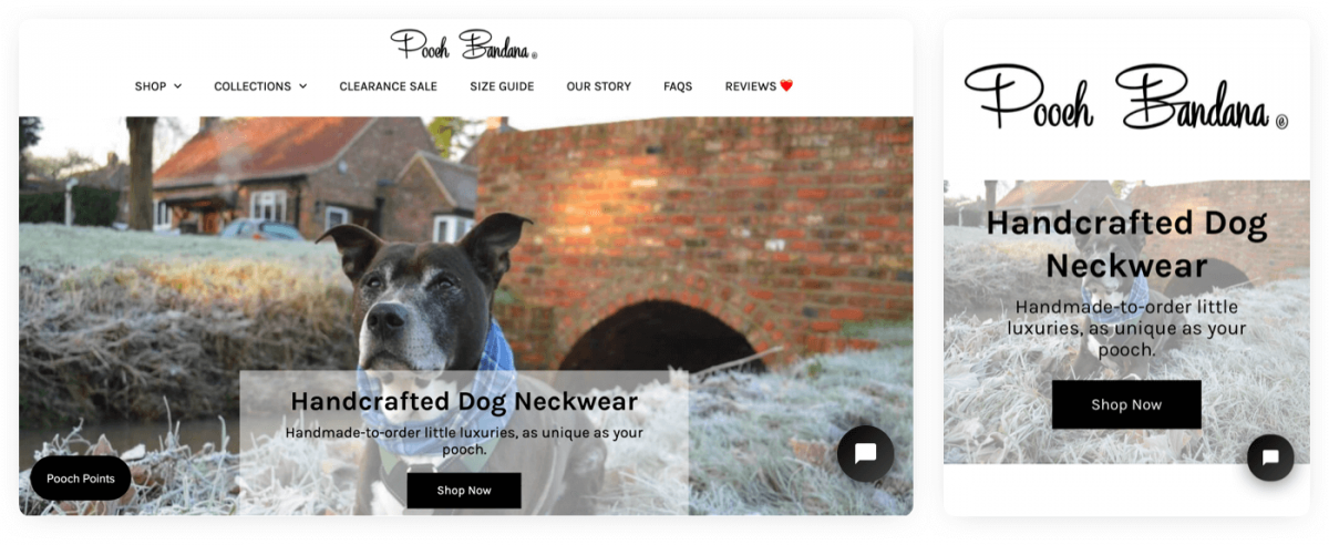 Pooch Bandana's homepage with live chat