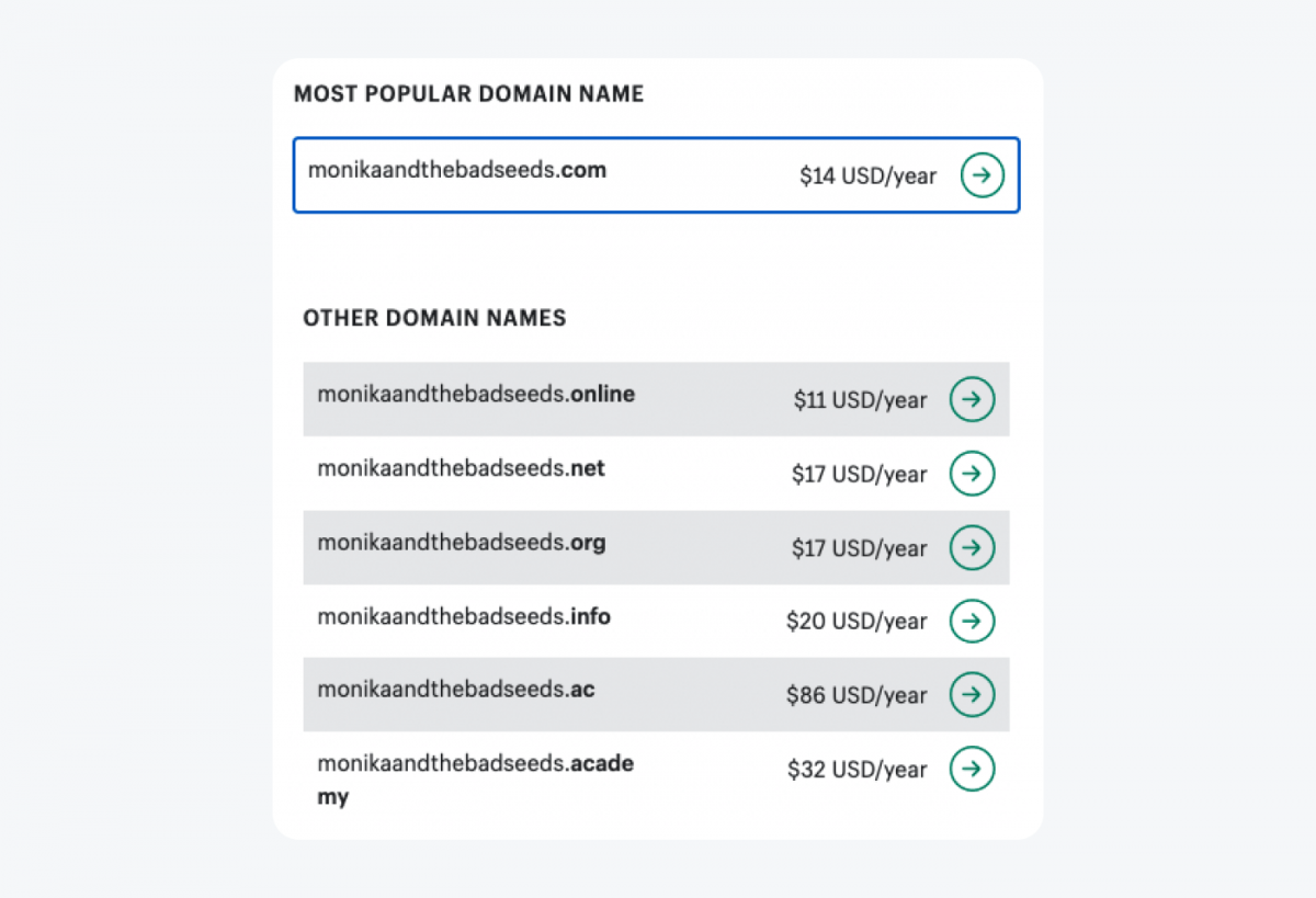 Domain suggestions view in Shopify