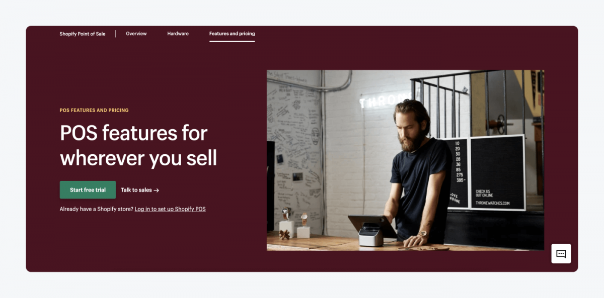 POS features page in Shopify