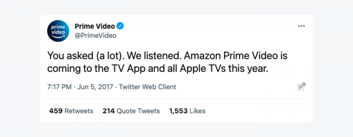"""A tweet from Prime Video: """"You asked (a lot). We listened. Amazon Prime Video is coming to the TV App and all Apple TVs this year."""