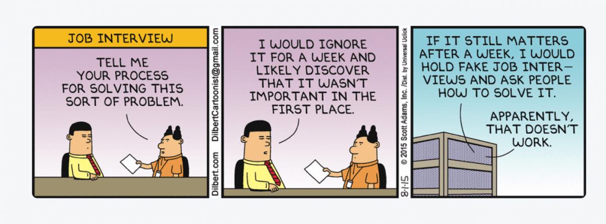 Comics presenting a job interview conversation