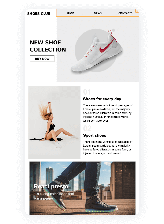 Email newsletter example - New Shoe Collection