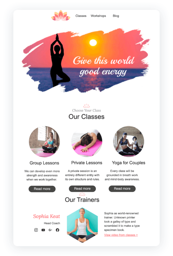 Email newsletter example - Yoga