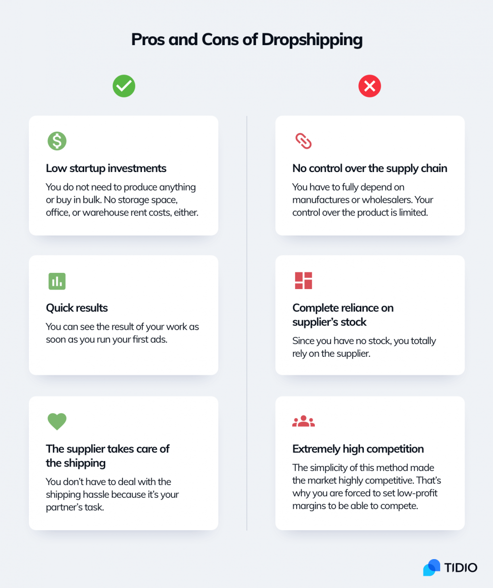The pros and cons of dropshipping infographic