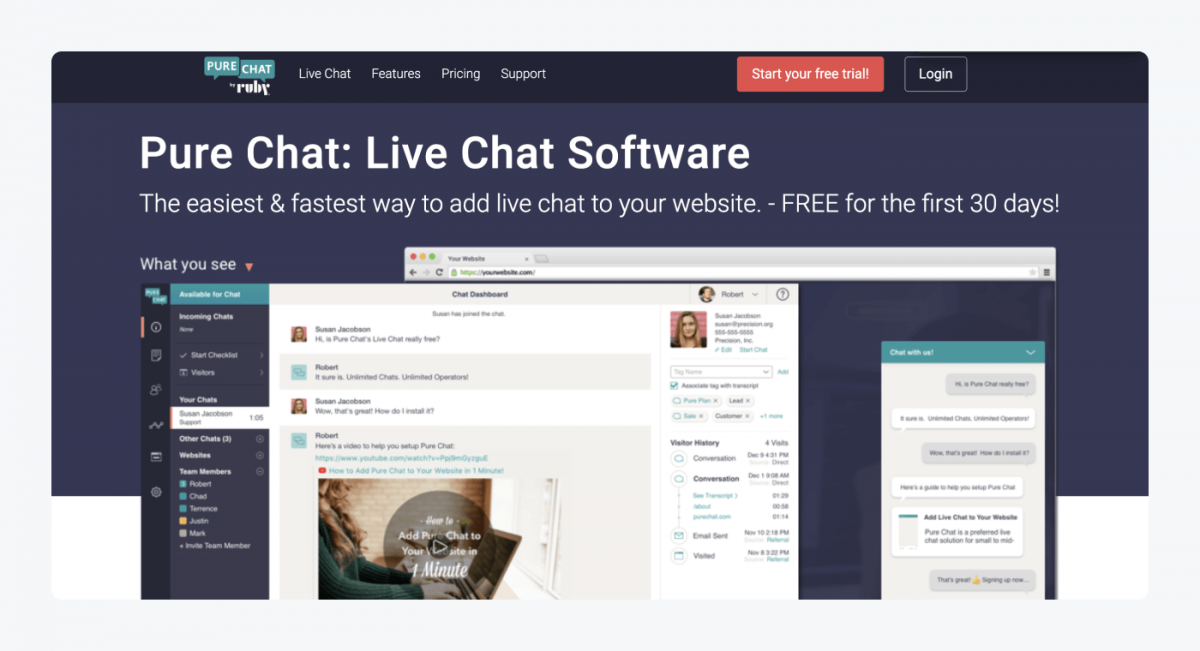 PureChat's homepage