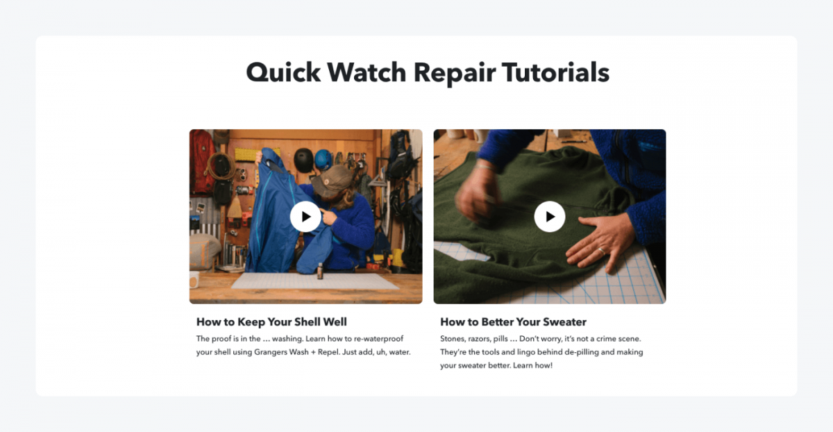 Clothes repair tutorials by Patagonia