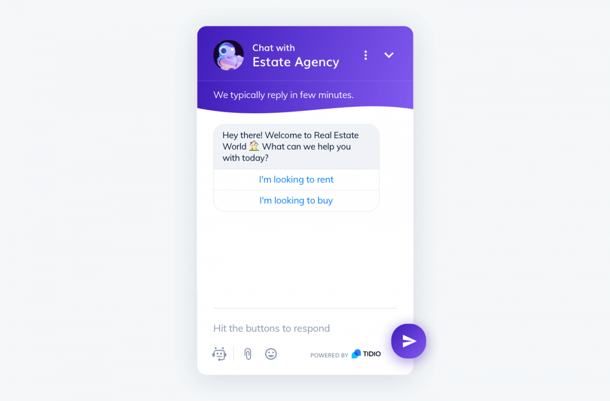 Chatbot widget used by a real estate agency