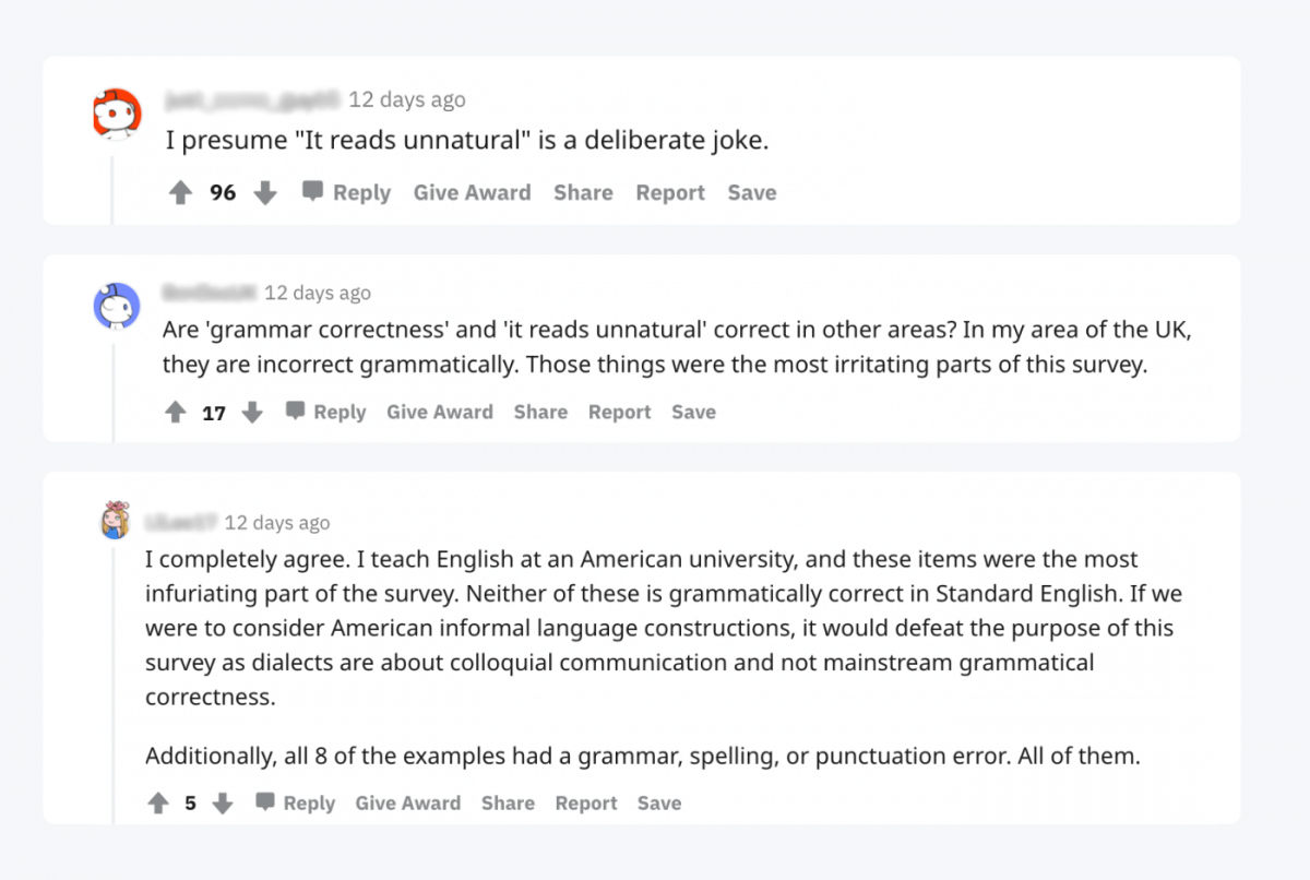 Reddit comments
