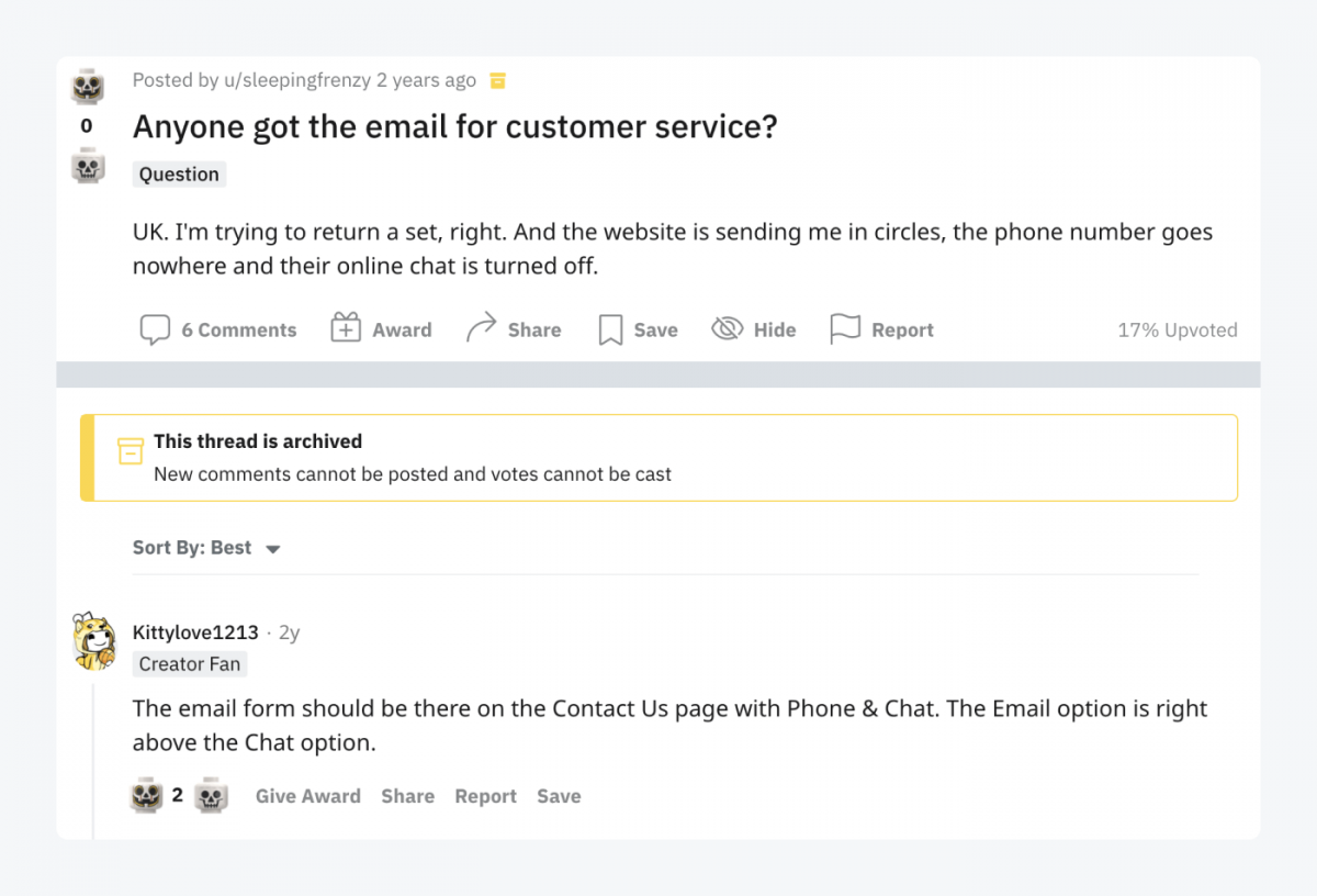 """Reddit thread titled: """"Anyone got the email for customer service?"""""""