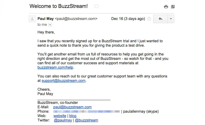 Customer onboarding email example from BuzzStream