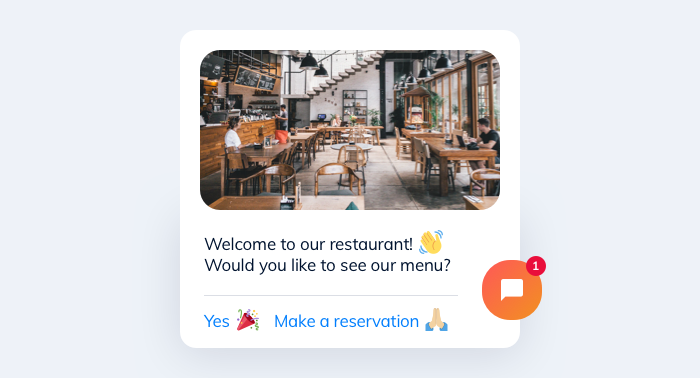 Screenshot of the Tidio chatbot in a restaurant setting