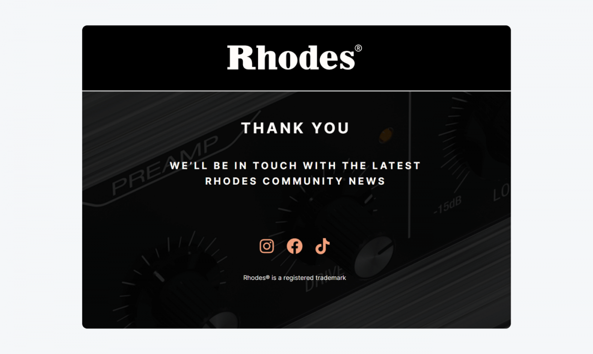 Thank you page example by Rhodes
