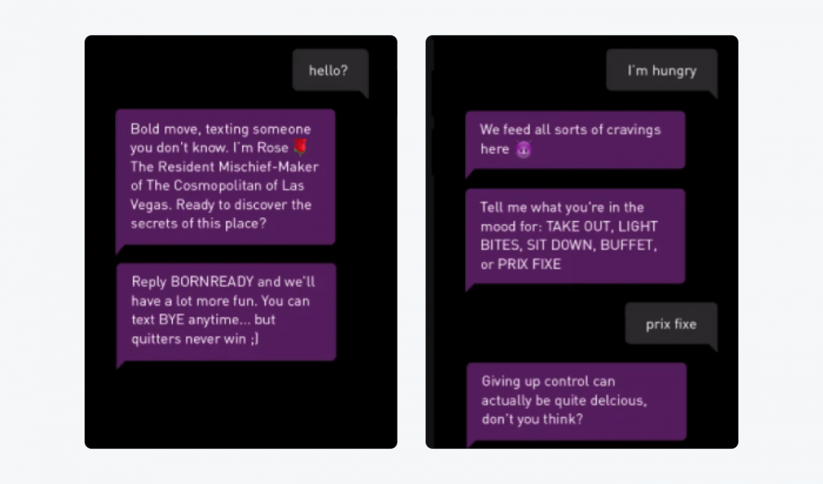 A conversation with a Rosa chatbot