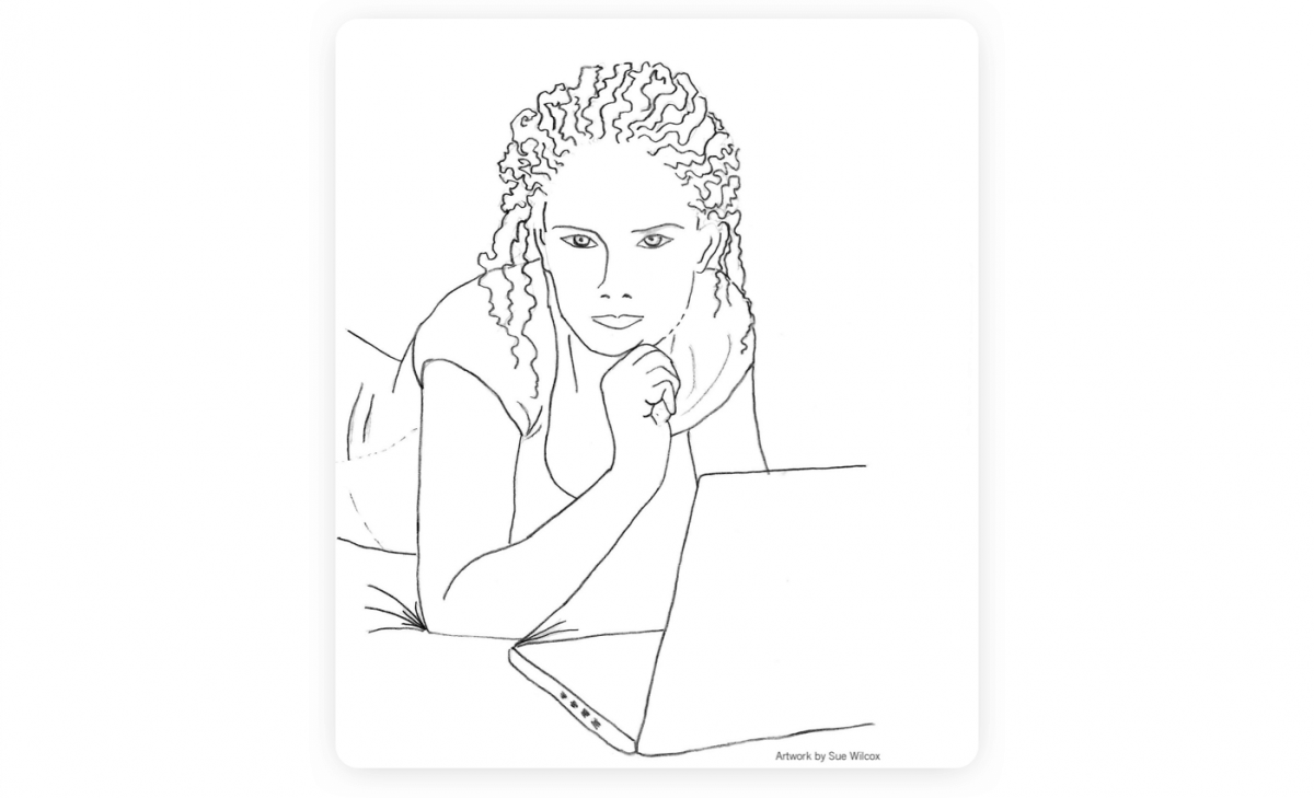 A drawing of Rose chatbot by Sue Wilcox