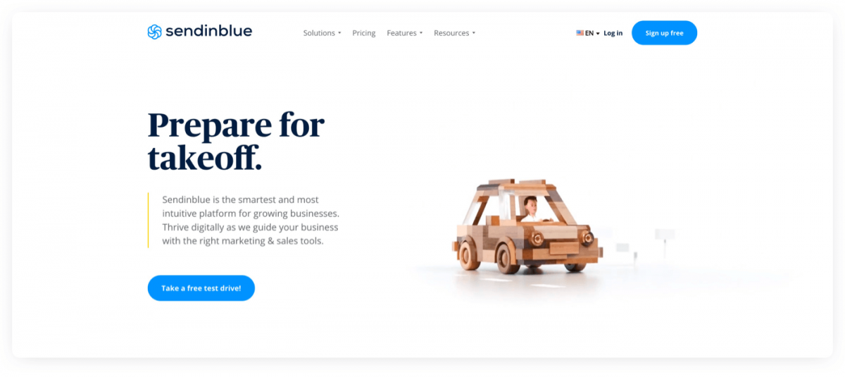 SendinBlue product page screenshot