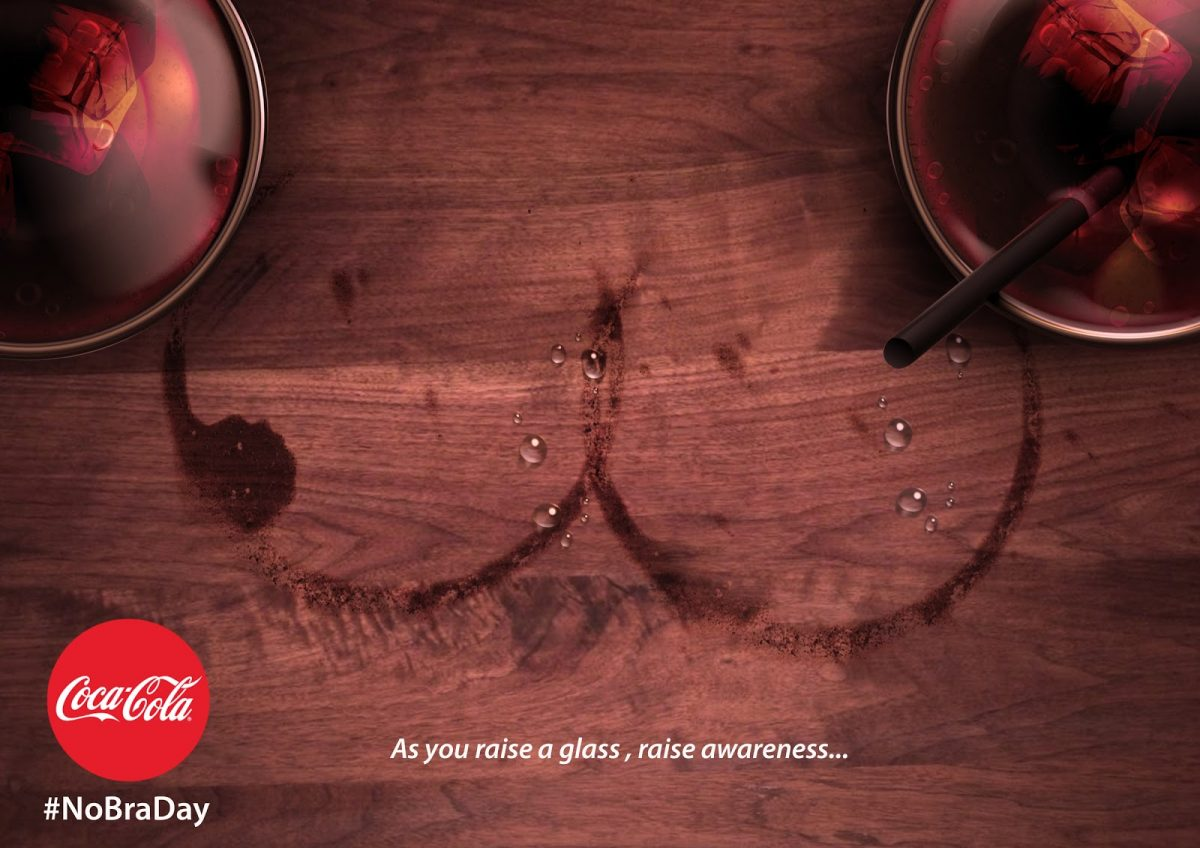 A No Bra Day campaign from Coca-Cola as an example of social campaign which uses sex appeal to draw attention to a serious health problem